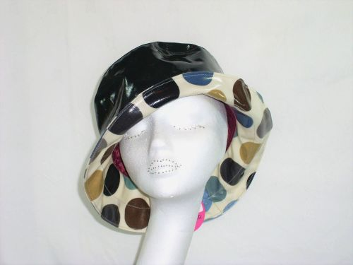 Kelly Spotted Rainhat packable lightweight adjustable sizing BLACK
