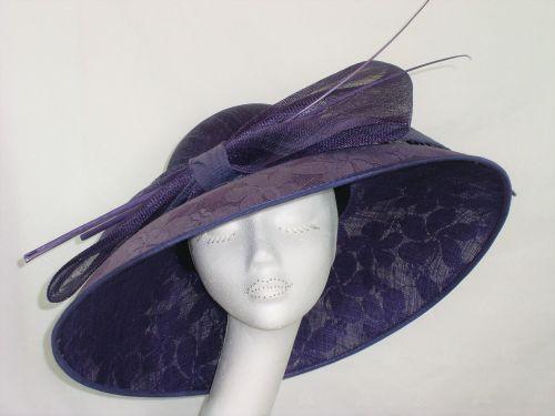 Failsworth Millinery large brimmed purple lace hat 7321