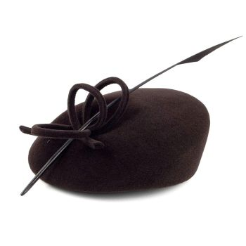 Whiteley Velour Felt Pill box hat with quill 526/907