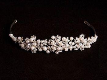 Pearl & crystal tiara LJ-LT507