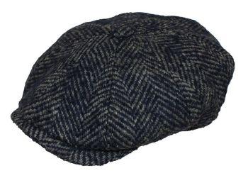 Denton Hats 8 pc Chunky Tweed cap - Navy/grey herringbone CH2