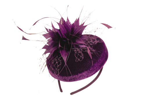 Amethyst velvet pill box hat by Maddox  F02