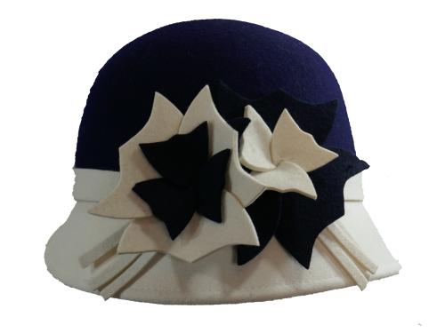 1920's style bi-colour cloche felt hat navy crown OS-359