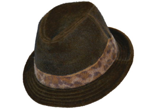 Ladies Trilby in faux cowhide & animal print