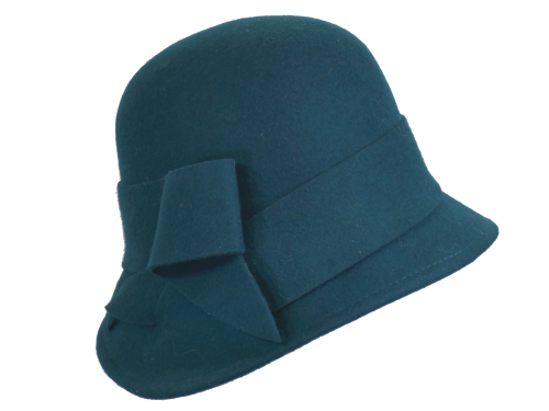 Teal Spruce 1920's Wool Cloche Style Hat