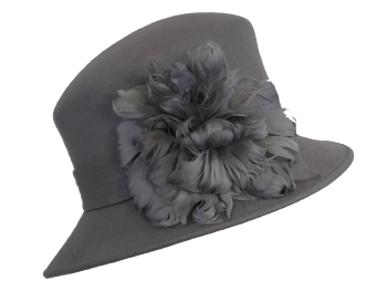 Mid Grey Wool Felt Hat with Feather detail 3872
