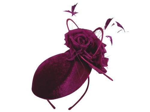 Merlot wine velvet side pill box hat by Maddox A14F17