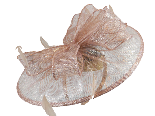 Rose gold pink hattinator with large bow detail Failsworth-8016