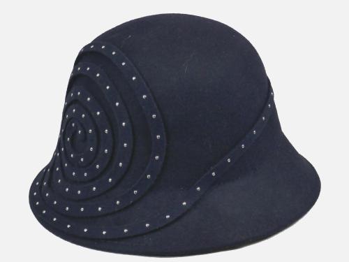 Navy Felt Studded Cloche 1920's style OS-138