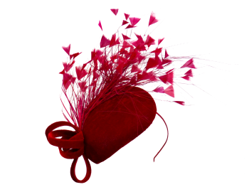 Deep Red Velvet Teardrop Pill Hat Maddox F36