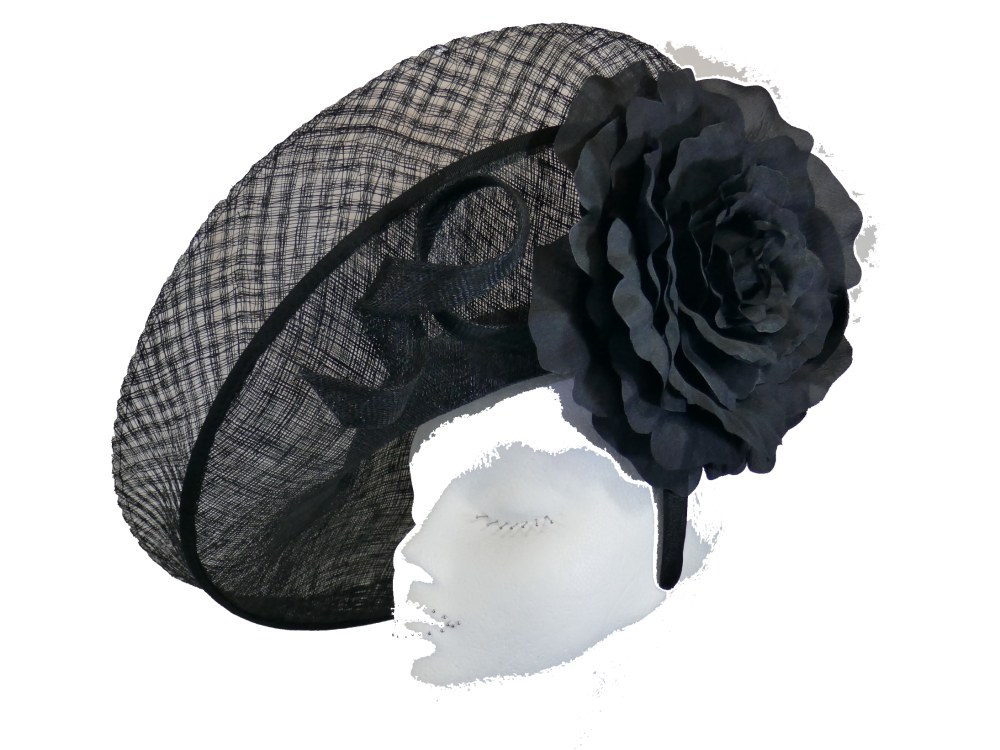 Black inverted disc hat with large silk flower Failsworth-7839