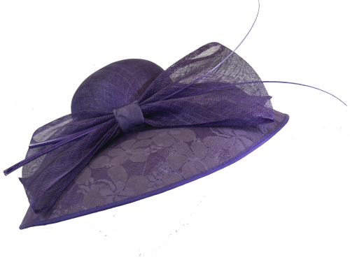 Failsworth Millinery large purple lace brimmed hat 7321