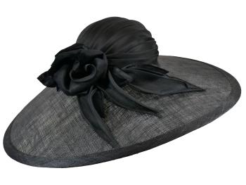 Large Black Hat with silk rose WHC 528/232