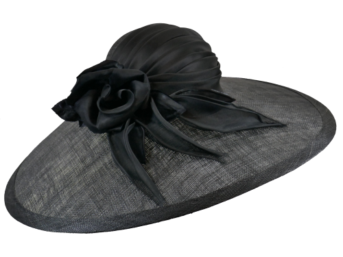 Whiteley Black Hat Large brimmed with silk rose 528/232