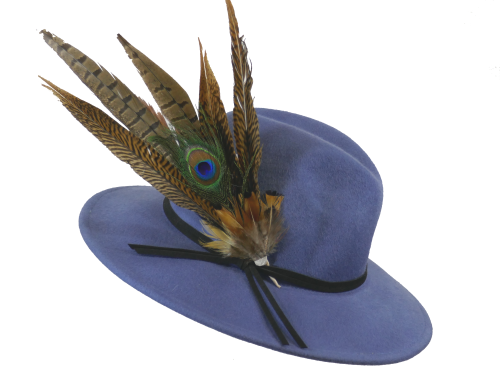 Denim Blue Failsworth Quality Velour Felt Fedora with large feather trim FM
