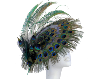 PEACOCK FEATHER DISC HAT handmade by Anna at The Beverley Hat Company