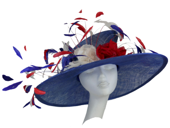 Red White & Blue large brimmed hat handmade by Anna At The Beverley Hat Company