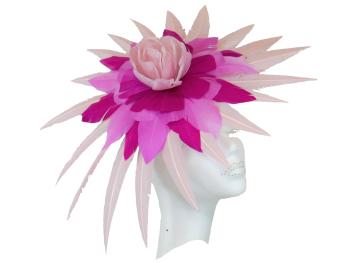 Pale Pink & Fushia Feather Fascinator PB-8030