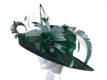 Dark Forest Bottle Green hat handmade by Anna at The Beverley Hat Co ANN-020