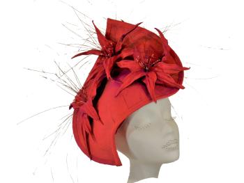 Burnt Orange & Fushia Magenta Silk covered Hat handmade by Anna at The Beverley Hat Company