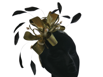 Black and Gold Ribbon Fascinator ANN-045