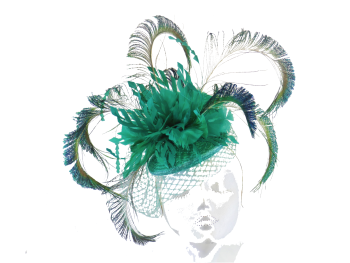 Peacock Fascinator jade green blues handmade by Anna at The Beverley Hat Company ANN-020