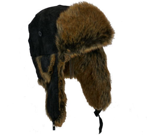 Whiteley Unisex Real Leather Trapper with Faux Fur BLACK