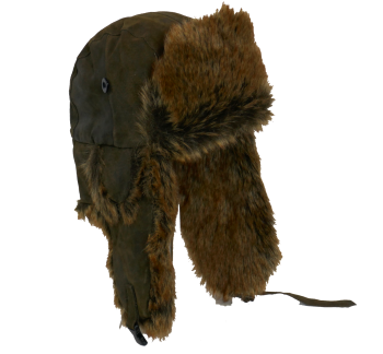 Unisex Real Leather Trapper with Faux Fur OLIVE