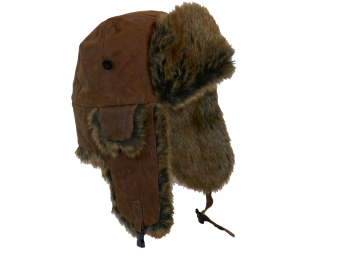 Whiteley Unisex leather trapper faux fur BROWN
