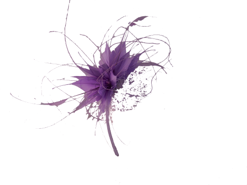 Lilac feather & net fascinator F07