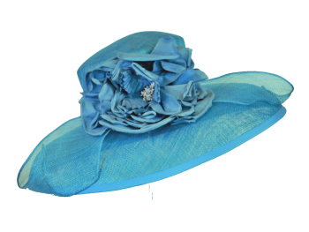 Large brimmed Turquoise hat by Snoxell 466