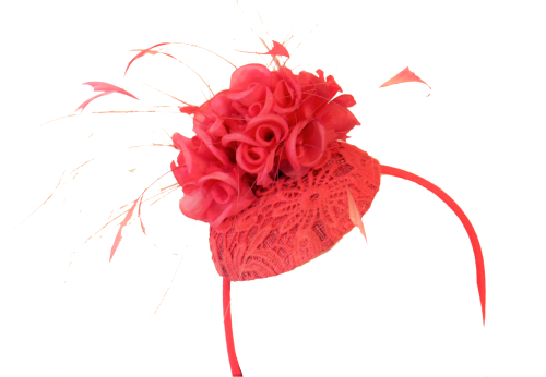 Coral lace pill with silk rose detail Maddox F17