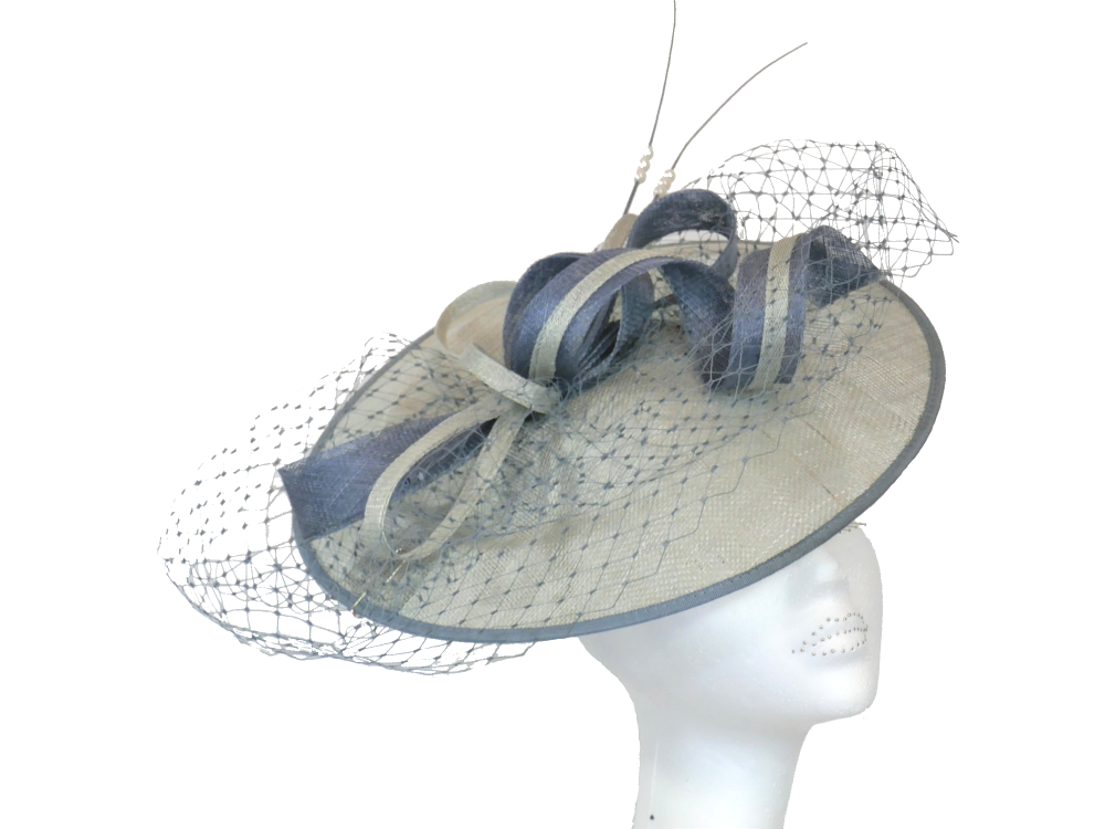 Disc hat in pale sea green & denim blue - Failsworth FM 7517