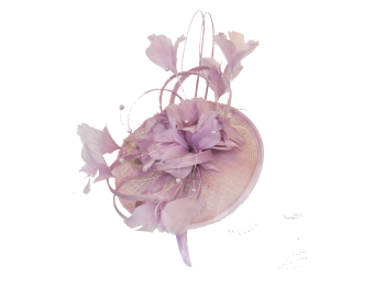 Lilac Orchid disc with quill & feathers EB408
