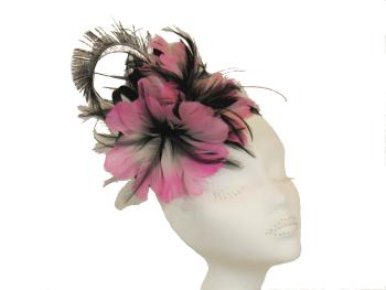 Pink & Black feather fascinator BM-10035