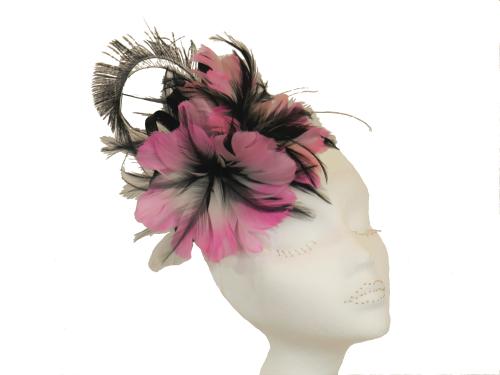 Pink & Black feather fascinator BETH MORGAN-10035