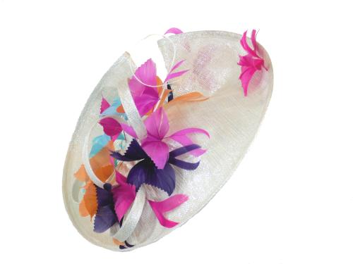 Silver lurex disc hat with aqua, orange, pink & purple feather butterflies
