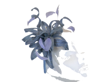 Blue grey curls fascinator with coq feathers 12019
