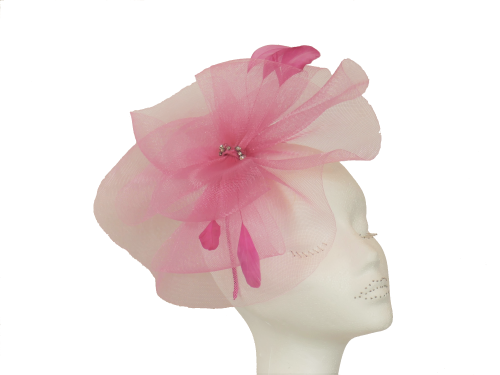 Pink Crin fascinator on band LB-511