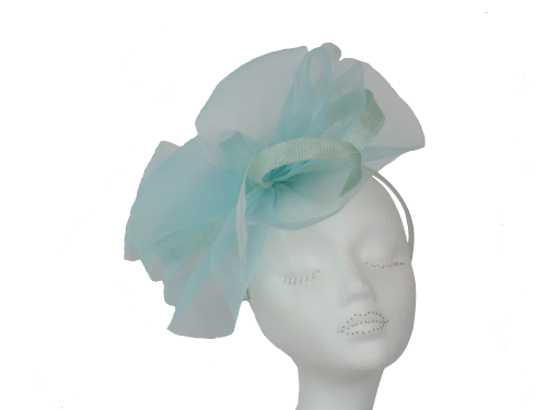 Aqua Pale Turquoise Crin fascinator on band LB-510