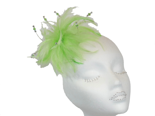 Lime feather fascinator with Swarovski crystals ANN-MFF