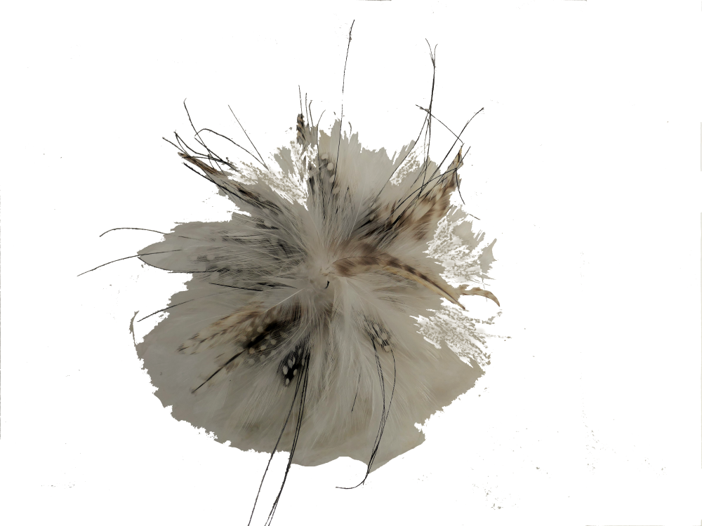 Ivory & brown spot feather fascinator BET-276