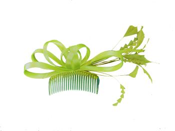 Lime satin curls on clear comb Maddox F10