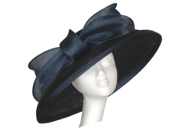 Black hat with large organza bow by Whiteley 429/132