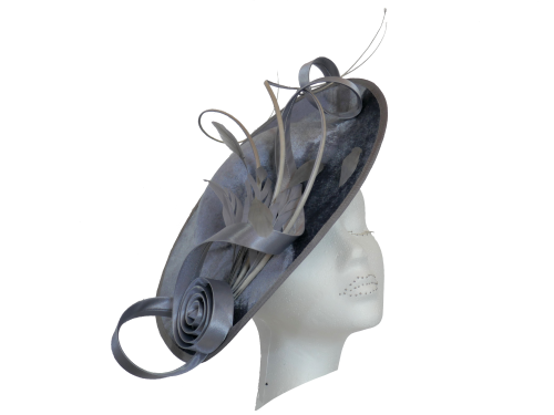 Gunmetal grey velvet teardrop with satin curls by Peter Bettley 1007