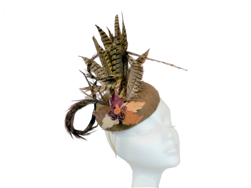Tweed pill with pheasant feathers handmade by Anna at The Beverley Hat Co