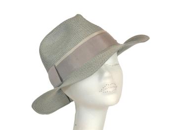 Mid grey ladies fedora straw sunhat OS-228