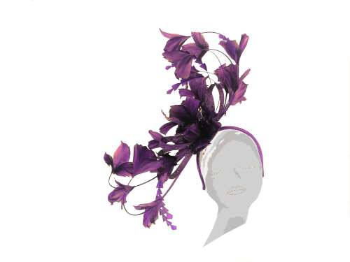 Dark purple feather fascinator  PB-2024