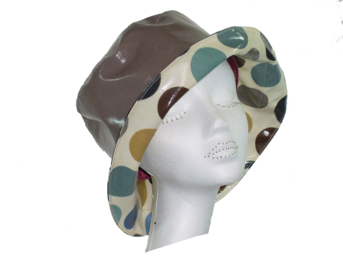Kelly Spotted Rainhat packable lightweight adjustable sizing TAUPE