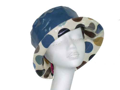 Kelly Spotted Rainhat packable lightweight adjustable sizing BLUE